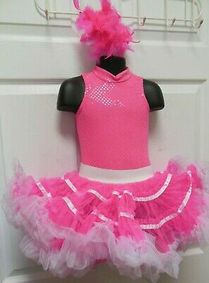 NWT HOT PINK DANCE BEAUTY PAGEANT COSTUME TAP GIRLS