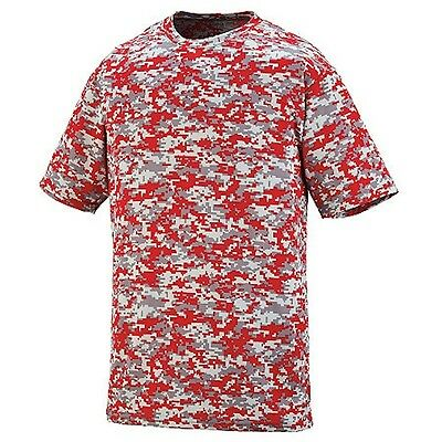 NEW! Red Gray Digital Camo Baseball Wicking Dry Fit Youth Sizes T Shirt Kids