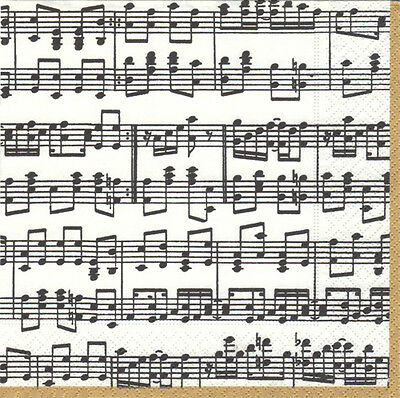 Musica Musical Notes Stave Caspari new luxury paper table napkins 20 in pack