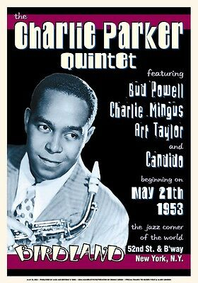 Jazz Great: Charlie Parker at Birdland in New York City Concert Poster 1953
