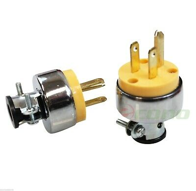 Lot of 2 Replacement 3-Prong Male Electrical Plug Heavy-Duty Free Shipping