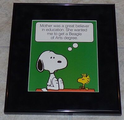 Peanuts Snoopy Woodstock College Arts Degree Framed Poster Print Charles Schulz