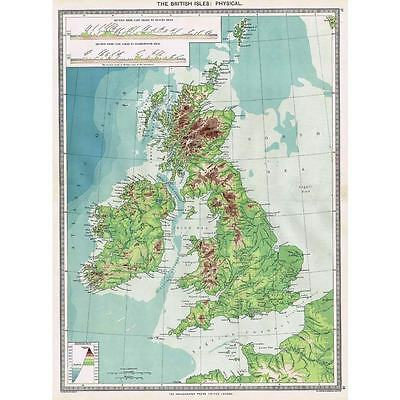 Antique Map 1906 - The British Isles - Physical Map - Harmsworth Atlas