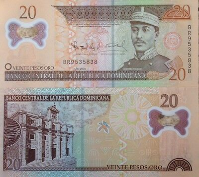 Dominican Republic 2009 20 Pesos Unc Polymer Banknote Buy From A Usa Seller !!!