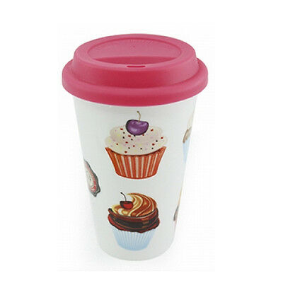 Cupcake Travel Mug Insulated Silicone Tea Coffee Takeaway Lid Cup Camping New