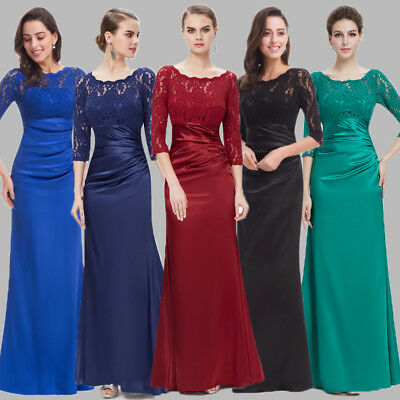 Lace Long Sleeve Formal Bridesmaid Formal Gowns Half Sleeve Evening Dress 09882