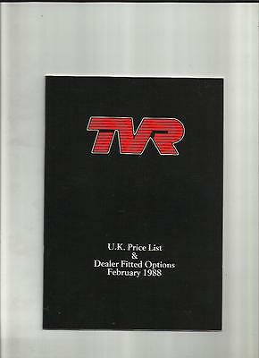 Tvr Dealer Fitted Options Price List Sales Brochure February 1988