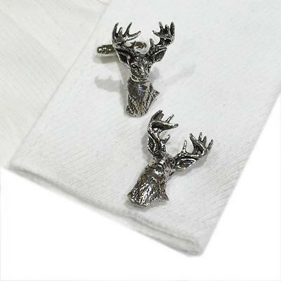 Silver Pewter Stag Head Handmade in England Cufflinks Stags Deer Country New