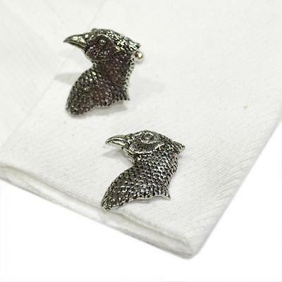 Silver Pewter Pheasants Head Cufflinks Handmade in England Cuff Links Birds New