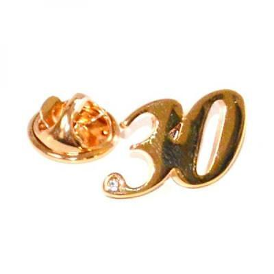 Gold Plated 30 Lapel Pin Badge With Stylish Crystal Decoration Birthday New