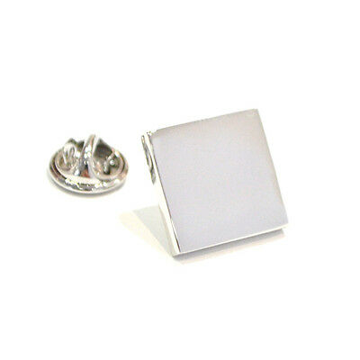 Silver Plain Lapel Pin Badge Simple Square Design Stylish Work Suit Gift New