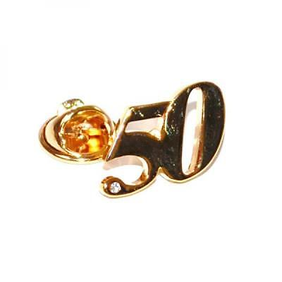 Gold Plated 50 Lapel Pin Badge Birthday Party Crystal Decoration Celebration New