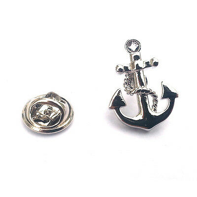 Silver & Black Anchor Lapel Pin Badge Boat Sailor Navy Sea Ship Seaman Gift New