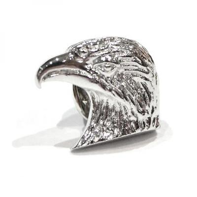 Silver Plated Eagles Head Design Lapel Pin Badge American Eagle America Gift New