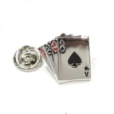 Silver Plated 4 Aces Playing Cards Lapel Pin Badge Gamble Card Poker Badges New