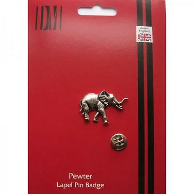 Silver Elephant Pewter Lapel Pin Badge Handmade In England Elephants Badges New