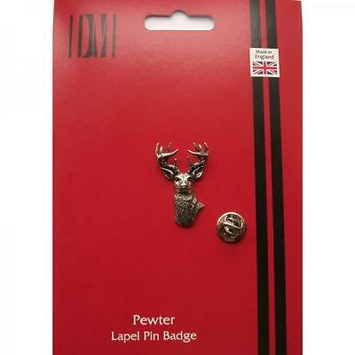 Silver White Tailed Deer Pewter Lapel Pin Badge Handmade In England Badges New