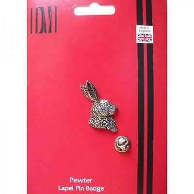 Silver Hare Head Design Pewter Lapel Pin Badge Handmade In England Badges New