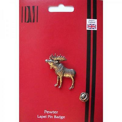 Silver Standing Moose Pewter Lapel Pin Badge Handmade In England Badges New