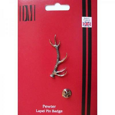 Silver Red Stag Antler Pewter Lapel Pin Badge Handmade In England Badges New