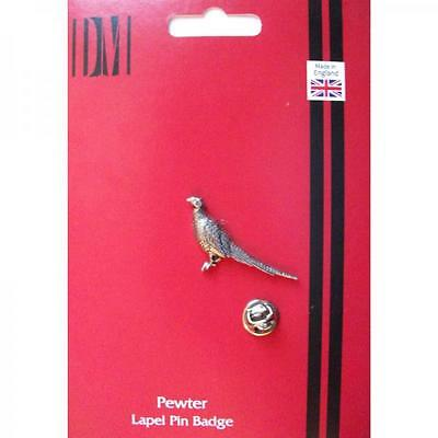 Silver Standing Pheasant Pewter Lapel Pin Badge Handmade In England Badges New
