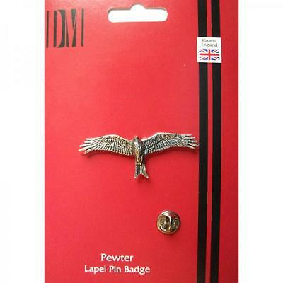 Silver Handmade In England Red Kite Bird Design Pewter Lapel Pin Badge Birds New