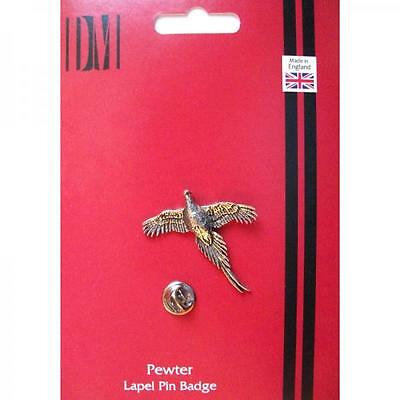 Silver Handmade In England Pheasant Bird Design Pewter Lapel Pin Badge Birds New