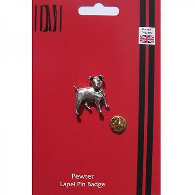 Silver Jack Russel Dog Design Pewter Lapel Pin Badge Handmade In England Pet New