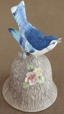 Towle Bone China Bluejay Bird Bell with flowers