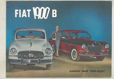 1956 Fiat 1900B Full Light Gran Luce Coupe & Saloon Pininfarina Brochure wv1135
