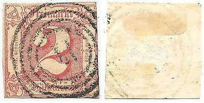 """1860 Thurn & Taxis, """"Germany"""" Rose 2 Silbergroschen Used Stamp, Scott #11 ~"""