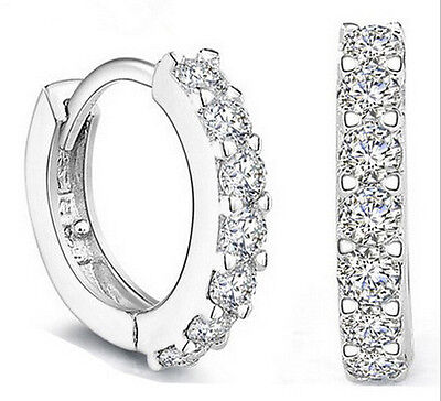 Fashion women Jewelry White Gemstones Crystal Silver Hoop Earrings