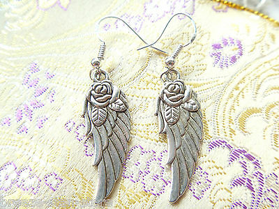 new Wholesale 6 pairs angel wings jewelry plated silver earrings