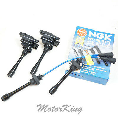 2 IGNITION COILS + Spark Plug Wires Leads Cables set LANCER ECLIPSE B257*2 IC447