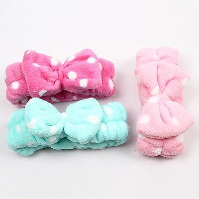 Korean Spots Flannel Bowknot Hair Wrap Band Towel Face Makeup Headband LE