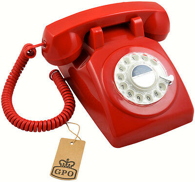 GPO 1970's Traditional Red Phone with Working Rotary Dial - Red Retro Telephone