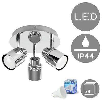 Modern Chrome 3 Way Flush LED Bathroom Ceiling Light Spotlight + GU10 Bulbs IP44