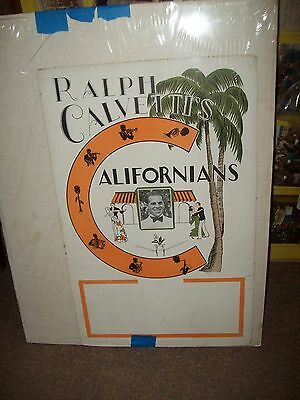 BANDLEADER RALPH CALVETTI'S 1920-1930  DANCE BAND  poster 14 x 22 with photo