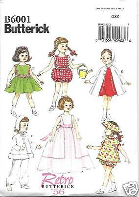 18 INCH DOLL CLOTHES SEWING  PATTERN BUTTERICK 6001
