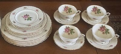 4 Syracuse VICTORIA Moss Rose PLACE SETTINGS #1 20 Pc Dinnerware Federal Shape