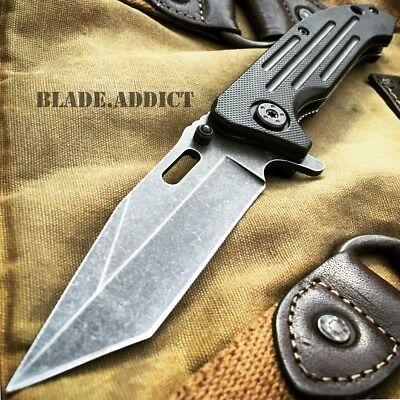 """8"""" BALLISTIC TANTO Stonewash Tactical Spring Assisted Open Combat Pocket Knife"""