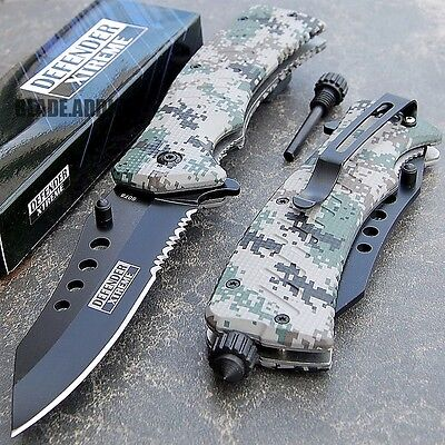 Tactical Survival Spring Assisted Open Rescue Pocket Knife W/ FIRE STARTER edc