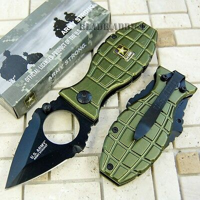 Officially Licensed US Army Green Grenade Spring Assisted Pocket Knife -F