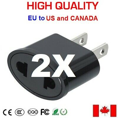 2x HIGH QUALITY European Round to North American Flat Travel Wall Plug Adapter