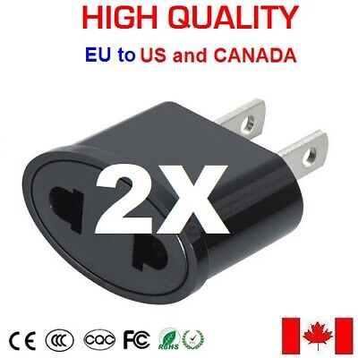 3x European Round to North American Flat Travel Wall Plug Adapter Outlet