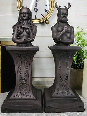 Wiccan Deity Horned God And Crescent Celestial Moon Goddess Herm Bust Sculpture