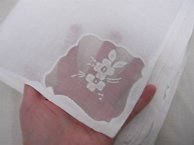 """12 VINTAGE WHITE LINEN with SHEER ORGANDY CORNERS w FLOWERS NAPKINS 15 3/4"""""""