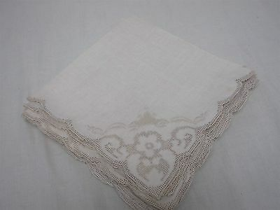 12 ANTIQUE BEIGE LINEN NAPKINS w CUTWORK & EMBROIDERED CORNERS JUMBO 20""