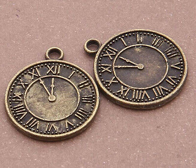 10pc Retro Bronze clock pendant Jewelry Accessories wholesale  PL958