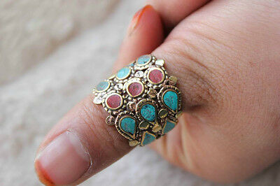 RG220 Nepal Jewelry EthnicTibet Brass Colorful Stone Ring Thumb Ring US SIZE9.5